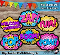 Pink Superhero Burst Party Decorations, Superhero Pop Art, Girls Hero Party Supplies, Party Printables - Digital JPG Files, INSTANT DOWNLOAD