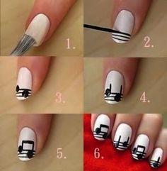 nail tips ideas Sparkle Elegant Nail Designs, Creative Nail Designs, Diy Nail Designs, Creative Nails, Music Note Nails, Music Nails, Gorgeous Nails, Love Nails, Pretty Nails