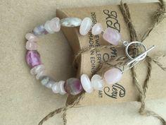 Pink Tourmaline Rose Quartz Gemstone Bracelet, Handmade Bracelet, Designer Gemstone Bracelet by KBrownJewellery on Etsy