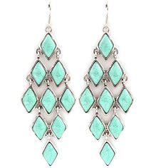 Dakota Chandelier Earrings in Turquoise (2,530 INR) ❤ liked on Polyvore featuring jewelry, earrings, accessories, bead jewellery, turquoise jewelry sets, blue turquoise jewelry, beaded earrings and beading jewelry