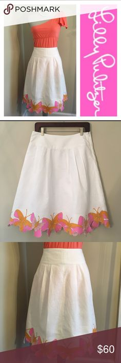 "Lilly Pulitzer White Linen Skirt w/ Butterfly Hem This is an older Lilly item I think it's called the Magnolia Butterfly Skirt If you have more info please let me know I ❤️ to add correct style names to my Lilly stuff Only selling the skirt in this listing Skirt marked size 4 Compare measurements w/something in your closet. Skirt shown on my size 6 mannequin Waist 31.75"" From waist to hem is 23.5"" Skirt made of cotton & Linen Note Linen has slight irregularities in the fabric One spot of…"