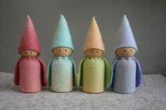 Set of 4 Hand Dyed Felt Gnomes with Capes - only one set in these colours.