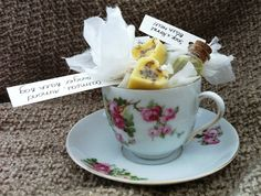 Beauty Present/Gift Idea - what lady wouldn't love to receive this! Take a pretty teacup - fill with handmade bath melts, oils, and teas - place in a cello bag and tie with pretty ribbons! Be Beautiful | Beauty Blog: DIY