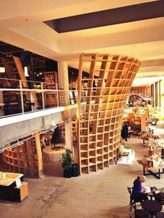 Home Decorating Websites Free Library Architecture, Futuristic Architecture, Interior Architecture, Bookstore Design, Library Design, Boutique Interior, Cafe Interior, Library Cafe, Kids Cafe