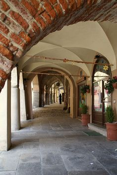 Avigliana, Piedmont, Italy - Piazza Conte Rosso (arcades)