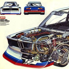 A close look at the cutaway section of this BMW 320 Turbo will reveal an almost aerospace sized turbo charger, tucked in under the exhaust headers on the right side of the engine. The engine itself...