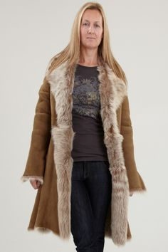 3fd773c36f Womens Shearling Coats. Our Tan Arrianna is a handmade luxury 3 4 length  with
