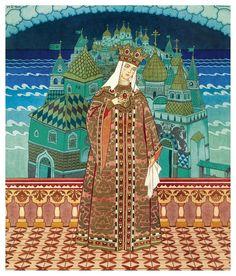 """Illustration for Pushkin's """"Tale of Tsar Saltan"""" by Ivan Bilibin 1929"""