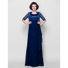 Sheath/Column+Plus+Sizes+/+Petite+Mother+of+the+Bride+Dress+-+Dark+Navy+Floor-length+Half+Sleeve+Chiffon+–+USD+$+119.99