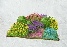 Einfachheit und Farbenreichtum bestimmen die Szenerie, in der drei Buchsbaumkugeln thronen. Die leuchtenden Farbakzente der Sommerstauden runden das Bild ab.
