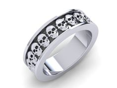 Skull Wedding Band or Skull Band 10 k