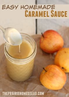 a simple, no-fuss recipe for caramel sauce--perfect for ice cream topping, apples, or fruit dip. I'm having a really hard time not just eating it with a spoon... (bonus-- it doesn't call for corn syrup!)