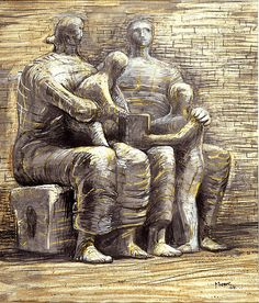 Henry Moore Admire how his drawings look so sculptural.