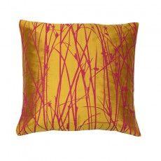 Grasses silk cushion – turmeric / magenta via Clasrissa Hulse