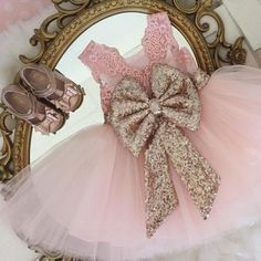 Ball Gown Scoop Pink Tulle Flower Girl Dresses with Lace Sequins Bow Knot, QB0081