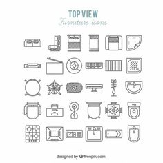 Furniture icons in top view Free Vector Architecture Symbols, Architecture Blueprints, Architecture Concept Drawings, Architectural Drawings, Architecture Design, Interior Design Sketches, Shop Interior Design, Sketch Design, Icon Design