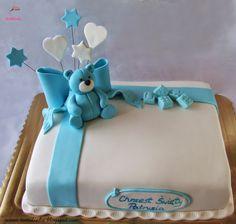 Tortolinka - torty artystyczne :): Tort na chrzest z niebieskim misiem