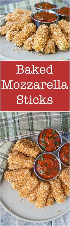 Baked Mozzarella Sticks Recipe for Baked Mozzarella Sticks in celebration of Easy Football Food Ideas for Game Day. Pair with your favorite marinara sauce for an easy and delicious snack! Tapas Dishes, Savoury Dishes, Healthy Appetizers, Appetizer Recipes, Snack Recipes, Best Football Food, Baked Mozzarella Sticks, Cheese Sticks Recipe, Mediterranean Appetizers