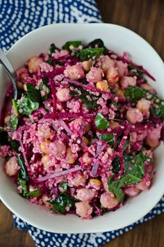 blissfulb - bliss blog - blissful eats with tina jeffers: Tahini quinoa bowl with beets, kale and chickpeas