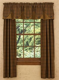 primitive spice lined point curtain valance 72 x 15 from park designs