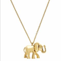 Kate spade lucky golden elephant pendant necklace Adorable lucky golden elephant pendant necklace from kate spade. This was an online exclusive for early 2016. Feeling lucky? Elephants are considered a symbol of good fortune in many cultures, and while we cant quite guarantee that our golden elephant collection will change your fate, were pretty sure that these sparkly pieces will improve your outlook and your outfit! 12k gold plated with glass crystals. Lobster claw closure. Total chain…