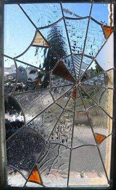 Stained Glass Spider Web Orange ~ Kyle Schumacher