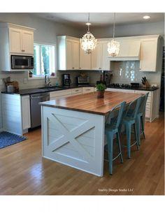 Refinished cabinets & kitchen remodel in Wilton NY Farmhouse Kitchen Island, Condo Kitchen, Kitchen Nook, Kitchen Redo, Home Decor Kitchen, Kitchen Interior, Home Kitchens, Kitchen Remodel, Kitchen Design