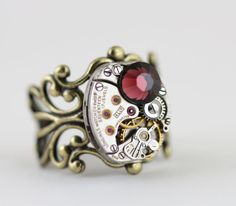 Steampunk Ring Burgundy Antique Brass by inspiredbyelizabeth Steampunk Rings, Handcrafted Jewelry, Unique Jewelry, Antique Brass, Valentine Gifts, Burgundy, Brooch, Inspired, Antiques