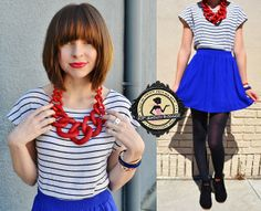 Meet the Top 10 Jewelry Bloggers of February 2014; Your Next Shoes has featured Total Betty Society as one of the top 10 jewelry bloggers for February featuring this sweet cherry red statement necklace and nautical top with blue skirt