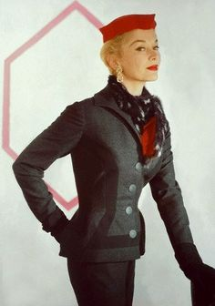 Lisa Fonssagrives in a charcoal wool flannel Givenchy design suit by Jay Thorpe, 1953. Photo by Horst P. Horst