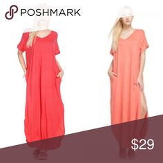 Coral Maxi With Side Slits And Pockets Loose fitting v-neck maxi with short sleeves and side pockets. Coral color is closest to photo on left above. Soft, comfortable jersey fabric. Hems are rounded in front and back. EVIEcarche  Dresses