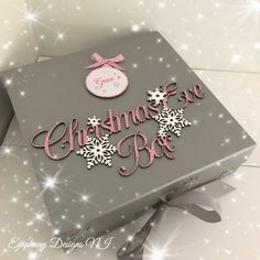 Christmas Eve Box with personalised bauble silver and pink By Epiphany Designs NI