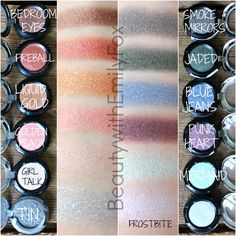 NYX Prismatic Eyeshadow swatches: Tin, Girl Talk, Golden Peach, Liquid Gold, Fireball, Bedroom Eyes, Frostbite, Mermaid, Punk Heart, Blue Jeans, Jaded and Smoke & Mirrors