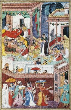 THE BIRTH OF RĀMA by Kesava and Kesava Khurd. Mughal school, 1588–1592. Gouache and gold on paper. Courtesy of the Maharaja Sawai Man Singh II Museum Trust, The City Palace, Jaipur. - See more at: http://www.ramayanabook.com