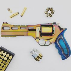 Chiappa Rhino 60DS NEBULA   .357/.38   Mix Color PVD   Blue Laminate Grips (340.301) #guns #revolver #chiappa #pistol #handgun #unique Airsoft Guns, Weapons Guns, Rhino Revolver, 357 Magnum, 38 Special, Tac Gear, Tola, T Rex, Firearms