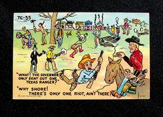 Texas Ranger Riot Vintage Postcard Humor by BestofbothWorlds, $7.95