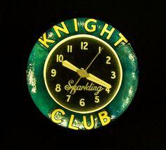 Knight Club neon clock
