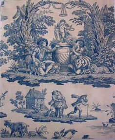 Antique French Toile Fabric Blue 19th c.  Marriage Proposal