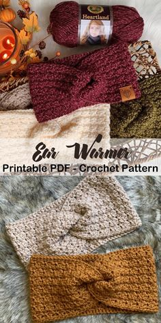 Looking for some Crochet Ear Warmer Patterns? There are lots of different headband patterns to keep you cozy this winter. Crochet Ear Warmer Pattern, Crochet Headband Pattern, Crochet Beanie, Crochet Baby Bonnet, Crochet Headbands, Crochet Gifts, Crochet Hooks, Knit Or Crochet, Crochet Stitches