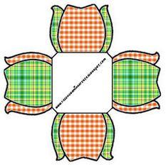 Kit para Festas - Xadrez Laranja e Verde (Fazendo a Nossa Festa)