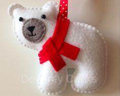 Cousu de main Noël ours feutre suspendu ornement de décoration