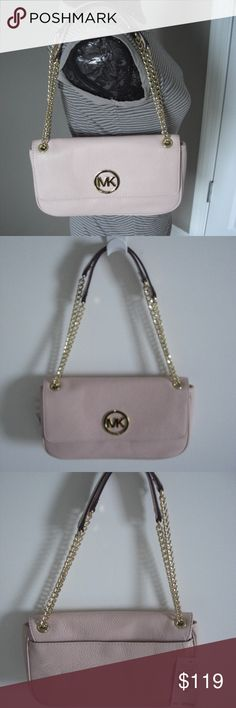 8513ec7714a7d0 Michael Kors Pink Small Shoulder Flap Chain Bag Beautiful Pebbled Leather  in Blossom color (Blush