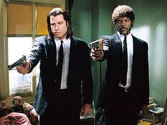 Pulp Fiction - Vincent Vega & Jules Winnfield Samuel L Jackson & John Travolta. Quentin Tarantino, Tarantino Films, Fritz Lang, Fiction Movies, Movie Couples, Film Stills, Series Movies, Great Movies, Hunger Games