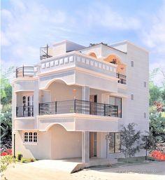 exterior wall design modern house front facade design ideas 2019 - Her Crochet Brick House Designs, House Balcony Design, 2 Storey House Design, House Outside Design, Bungalow House Design, House Front Design, Indian House Exterior Design, Kerala House Design, Modern Small House Design