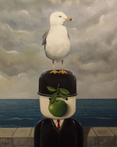 Fred the Homepride man meets Rene Magritte in this Acrylic on canvas painting by Mark Mason. This painting Entitled 'Corporate Vacation' is a re-working of Magrittes 1967 painting 'Son of Man'.