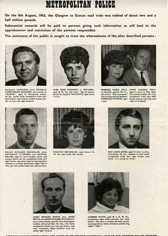Wanted poster of the Great Train Robbery robbers and their associates. This was produced not long after the robbery and was widely distributed.