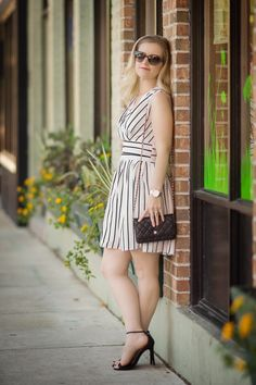 Petite Fashion and Style | Chicwish Stripes Wrap Dress | Click to read more...