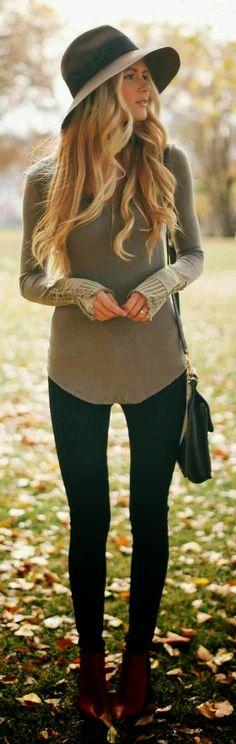 Fall street fashion. I need this hat.