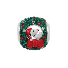 Persona® Sterling Silver Peanuts® Sleeping Snoopy in Red and Green Enamel and Multi-Color Crystal Wreath Bead