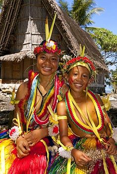 Girl and boy, roped for traditional bamboo dance, Yap Island, Yap Islands, Federated States of Micronesia